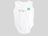 Lucky St. Patrick's Day Baby Bodysuit with Calligraphy Wording and Irish Shamrock Clover