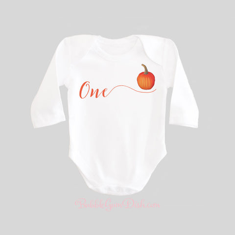 First Birthday Calligraphy Pumpkin Shirt