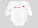 Sweetheart Valentine's Day Baby Bodysuit with Calligraphy Wording and Red Heart