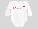 Valentine's Day Baby Bodysuit with Valentine Calligraphy Wording and Red Heart