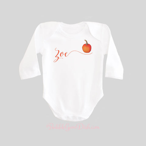 Personalized Name Pumpkin Baby Bodysuit