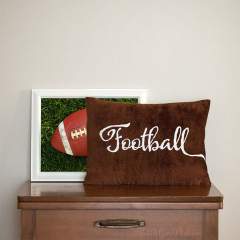 Football Embroidered Pillow Cover
