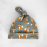 Newborn Baby Hat with Foxes in Grey