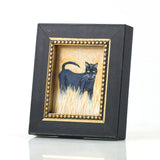 "Binx 2 - Mini Black Cat Fine Art Print - Framed 2.5"" x 3"""