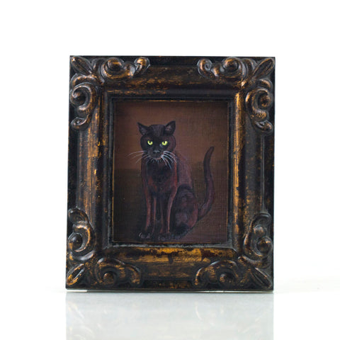 "Binx 4 - Mini Black Cat Fine Art Print - Framed 2.5"" x 3"""