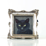 "Binx 5 - Mini Black Cat Fine Art Print - Framed 3"" x 3"""