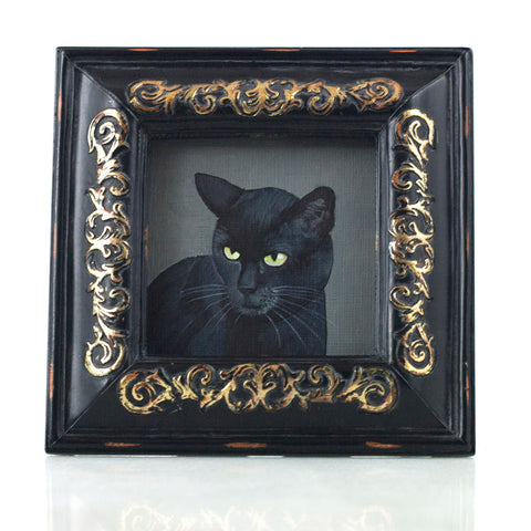 "Binx 6 - Mini Black Cat Fine Art Print - Framed 3"" x 3"""