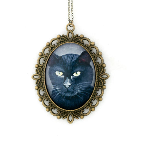 Binx 5 - Black Cat Pendant Necklace