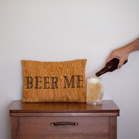 Beer Me Embroidered Pillow