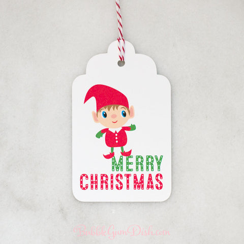 Merry Christmas Elf Gift Tags