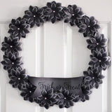 Black Flower Halloween Wreath - 18""