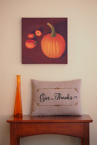 Give Thanks Thanksgiving Decor Pillow