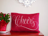 Embroidered Cheers Pillow Cover from BubbleGumDish.com