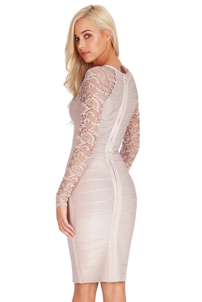 Lace Sleeved Bandage Midi Dress - Titine's Wardrobe - 1