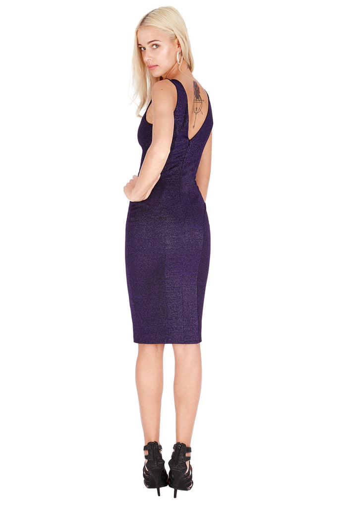 Lurex Midi Dress - Purple - Titine's Wardrobe - 1