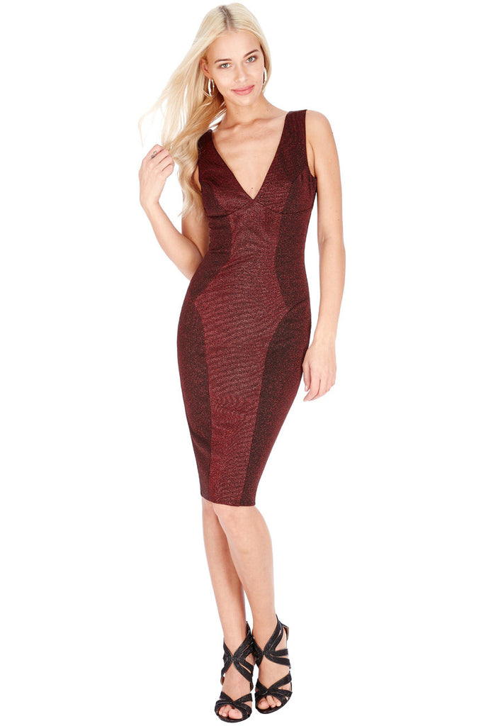 Lurex Midi Dress - Wine - Titine's Wardrobe - 1