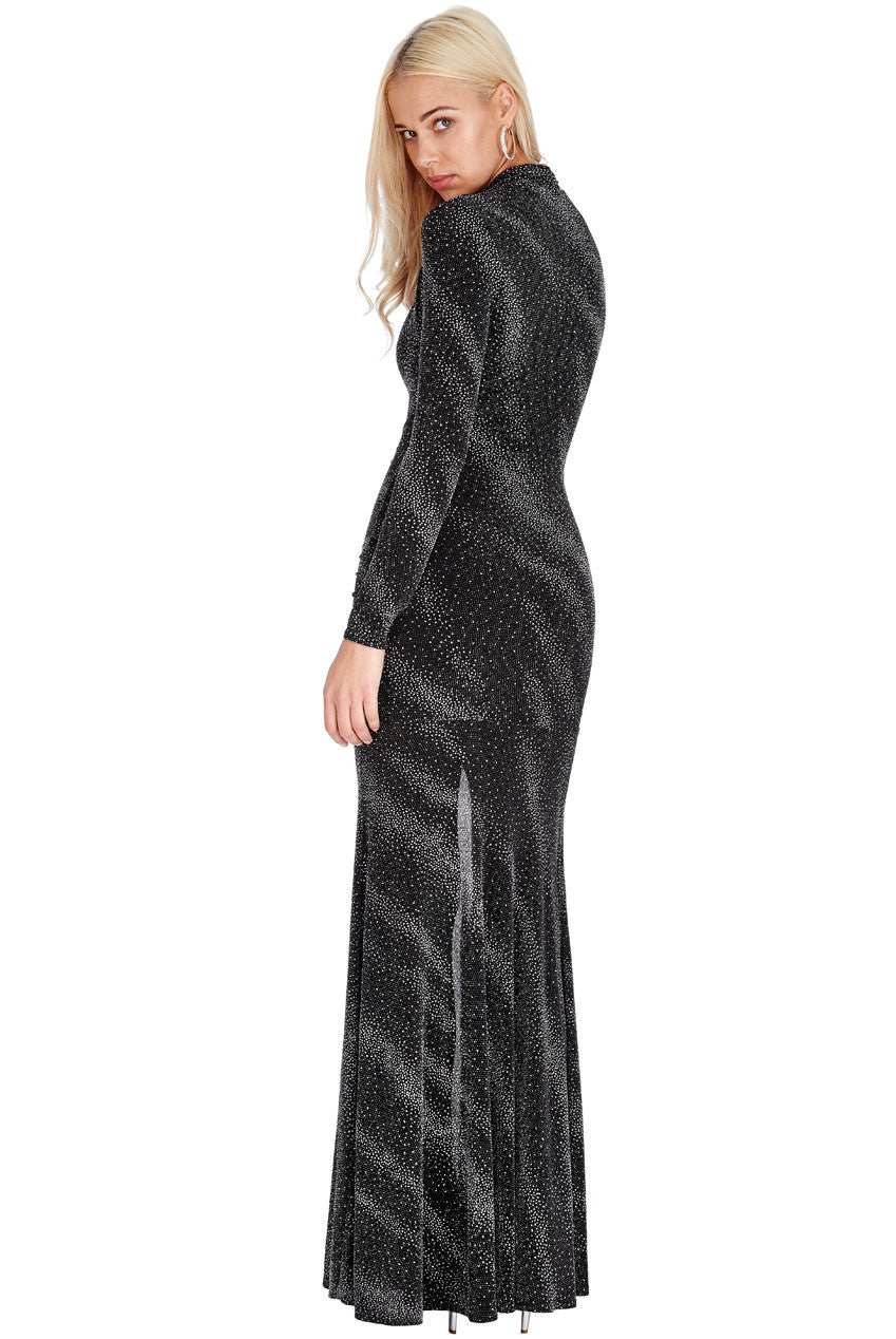 Plunge Glitter Maxi Dress - Titine's Wardrobe - 3