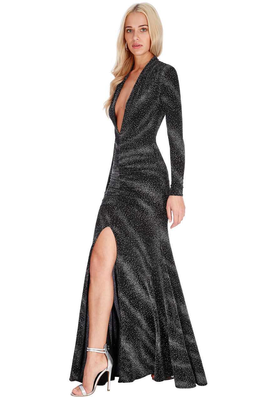 Plunge Glitter Maxi Dress - Titine's Wardrobe - 2