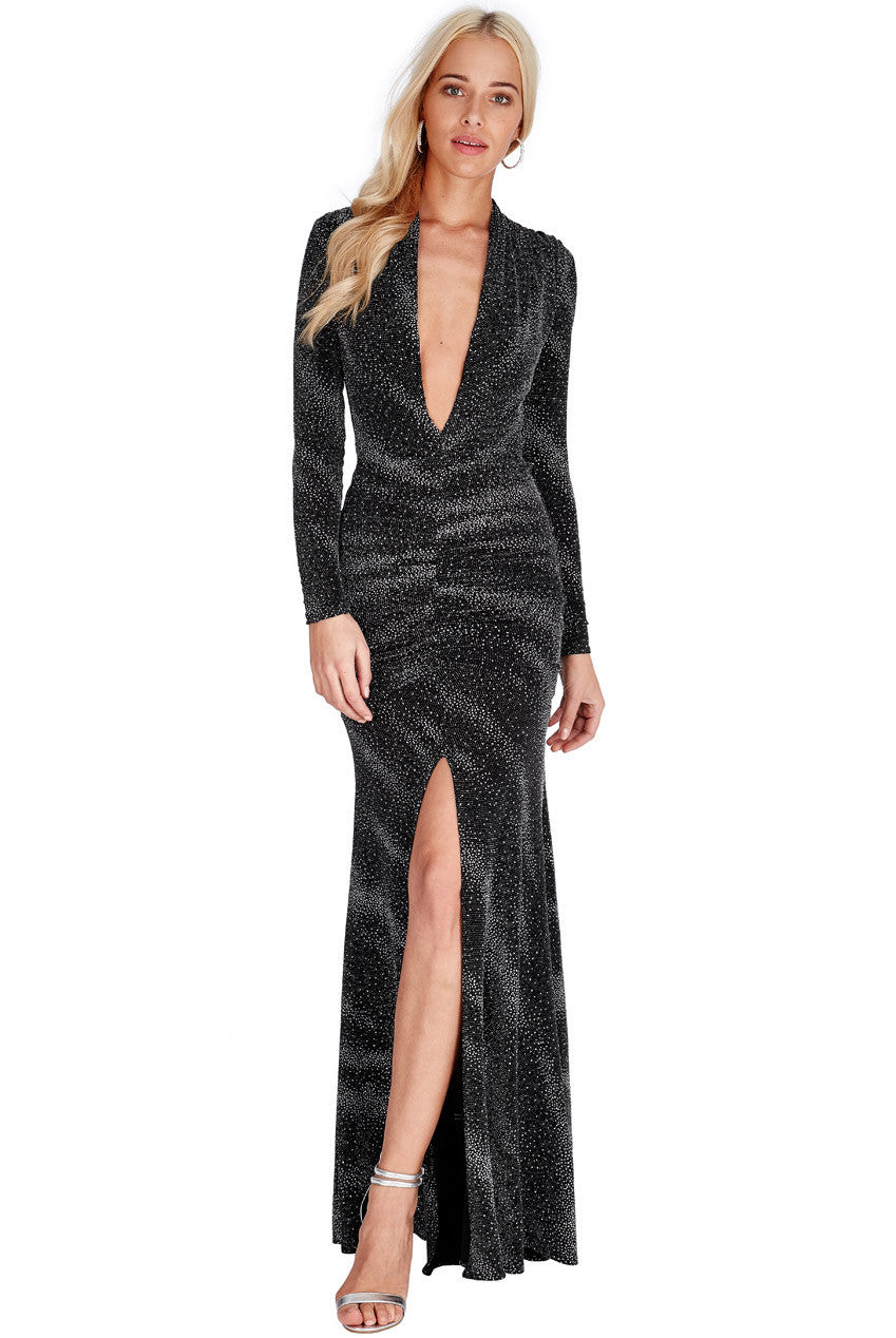 Plunge Glitter Maxi Dress - Titine's Wardrobe - 1