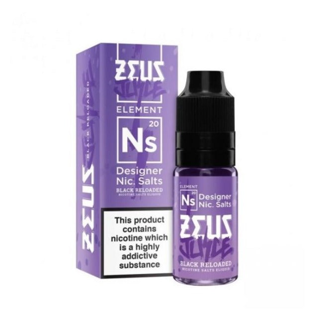 The Black Reloaded Nic Salt (10ml)  By Zeus Juice. 3 for £12.99 - Cheap Quality Eliquid, Vape Juice. Zapp Vape Cardiff UK. Zapp Ecigs Cardiff UK.  E-cigs Cardiff. Zeus Juice Cardiff