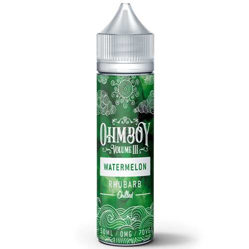 Watermelon & Rhubarb Chilled Eliquid by Ohm Boy Botanicals 50ml (Nicotine not included)               - Cheap Quality Eliquid, Vape Juice. Zapp Vape Cardiff UK. Zapp Ecigs Cardiff UK.  E-cigs Cardiff. Vaping Cardiff