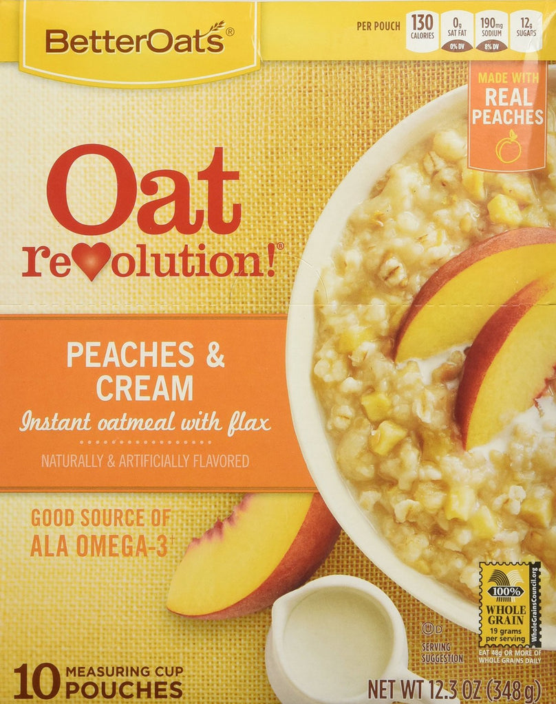 Oat Revolution!  Old Fashioned Thick & Hearty Instant Oatmeal ̐ Peaches & Cream