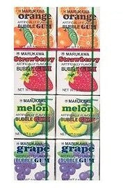 Marukawa Japanese Fusen Bubblegum 8 Pack Mix 0.19oz (Orange, Strawberry, Melon, Grape) - Pacific Rim Gourmet