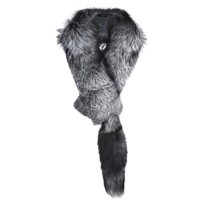 Silver Grey Oversized Fox Fur Scarf