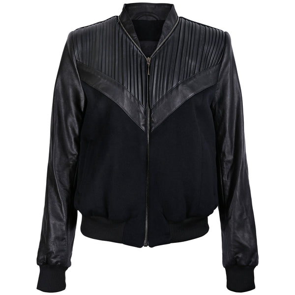 Pleated Leather Cashmere Bomber Jacket