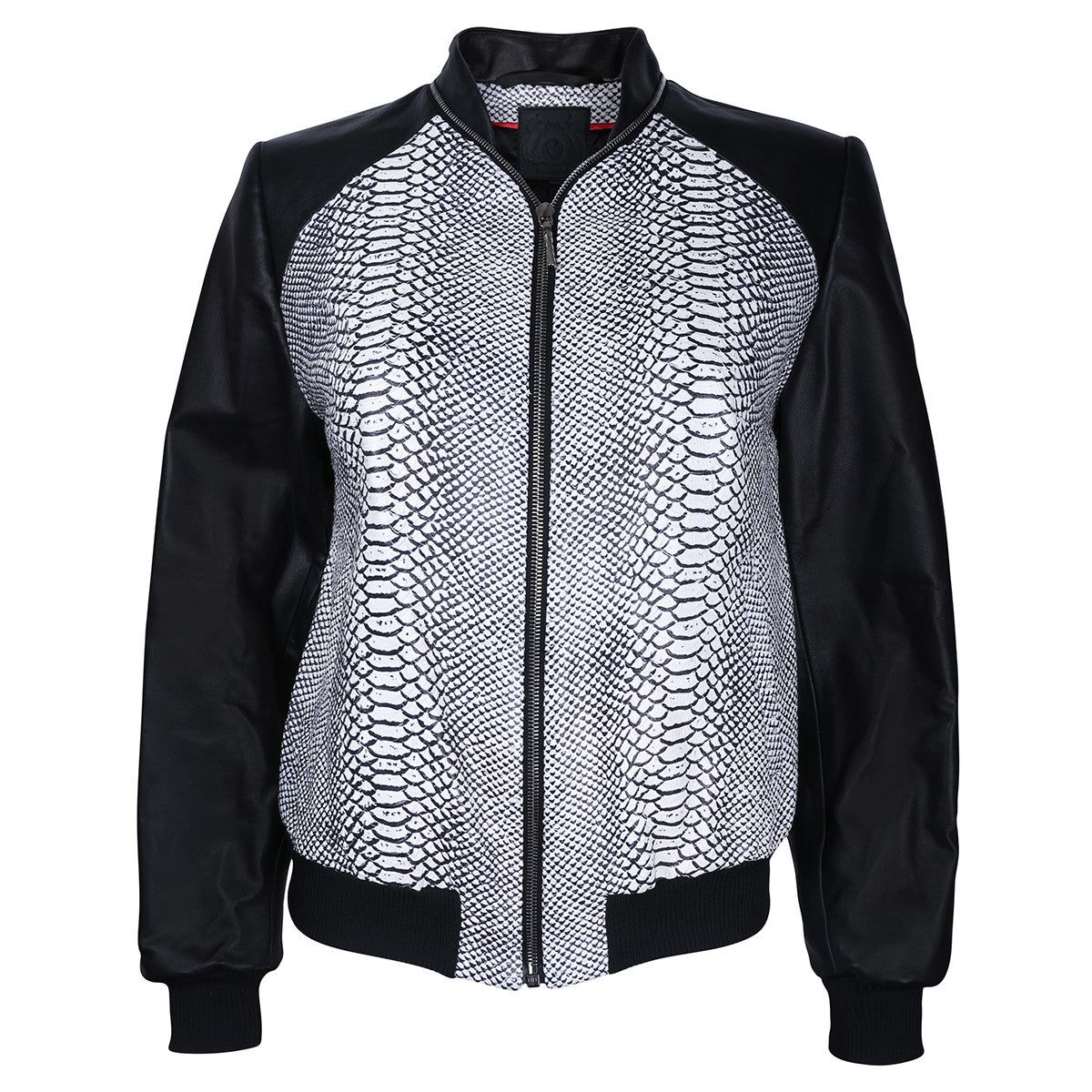 Monochrome Snake Leather Bomber Jacket - VOLS & ORIGINAL