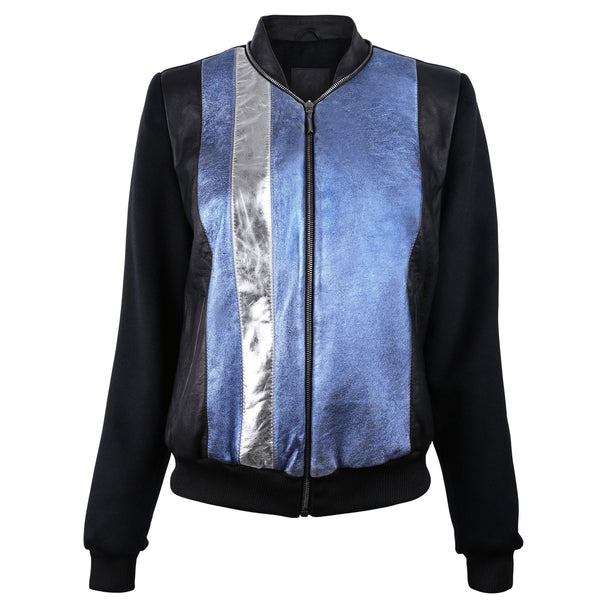 Blue Metallic Bomber Jacket