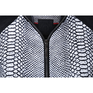 Monochrome Snake Leather Bomber Jacket