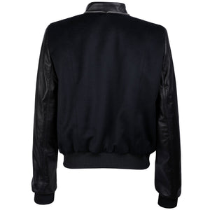 Leather and Alpaca Panelled Bomber Jacket