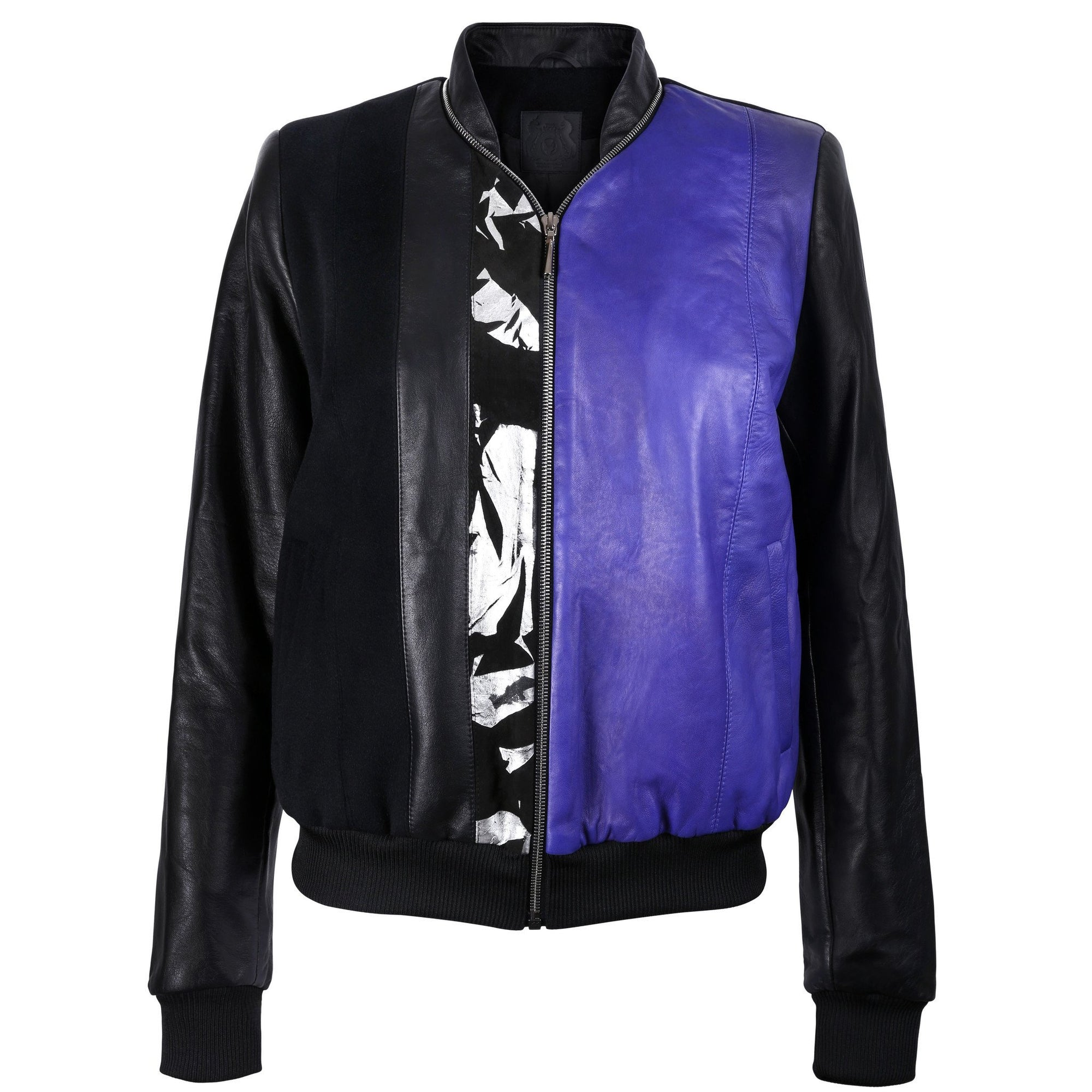 Black and Purple Leather Bomber Jacket with Silver Print Motif - VOLS & ORIGINAL