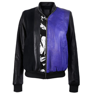 Black and Purple Leather Bomber Jacket with Silver Print Motif