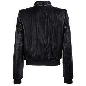 Floral Print Black Leather Bomber Jacket