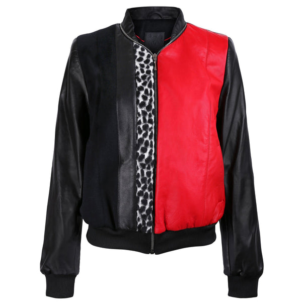 Black and Red Leather Bomber Jacket with Leopard Print Motif