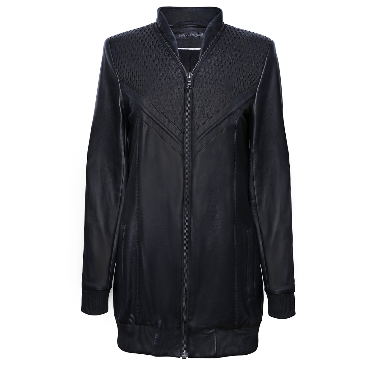 Leather Long Bomber Jacket  'Net' - VOLS & ORIGINAL