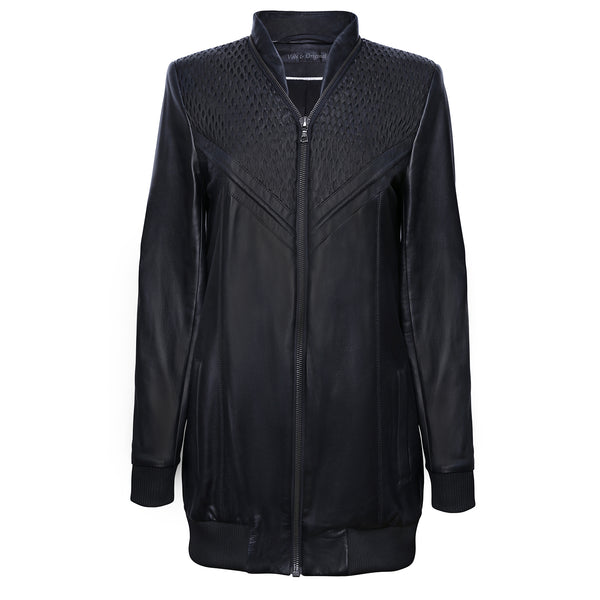 Leather Long Bomber Jacket  'Net'