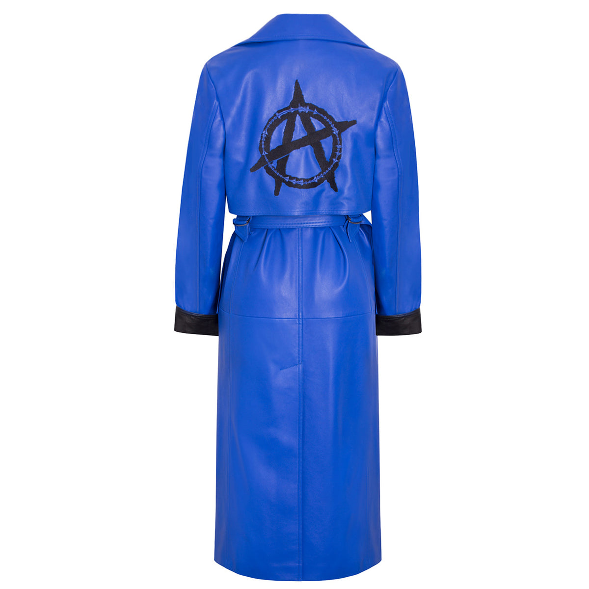 'Sky' Leather Trench Coat with Embroidery - VOLS & ORIGINAL