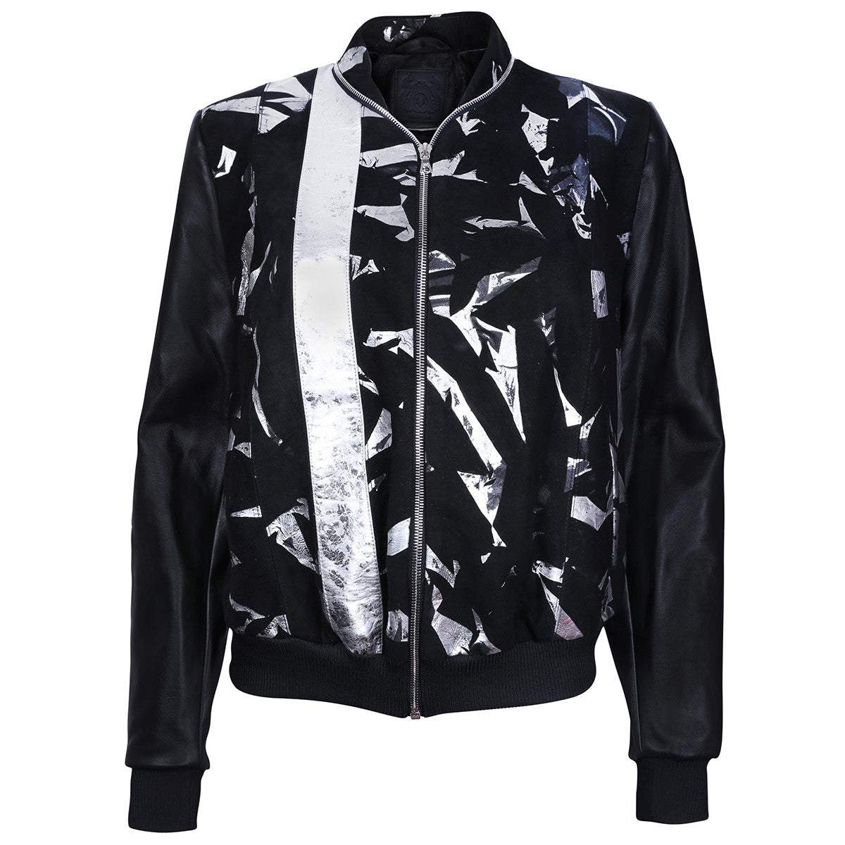 Black Suede Leather Bomber Jacket with Metallic Print Motif - VOLS & ORIGINAL