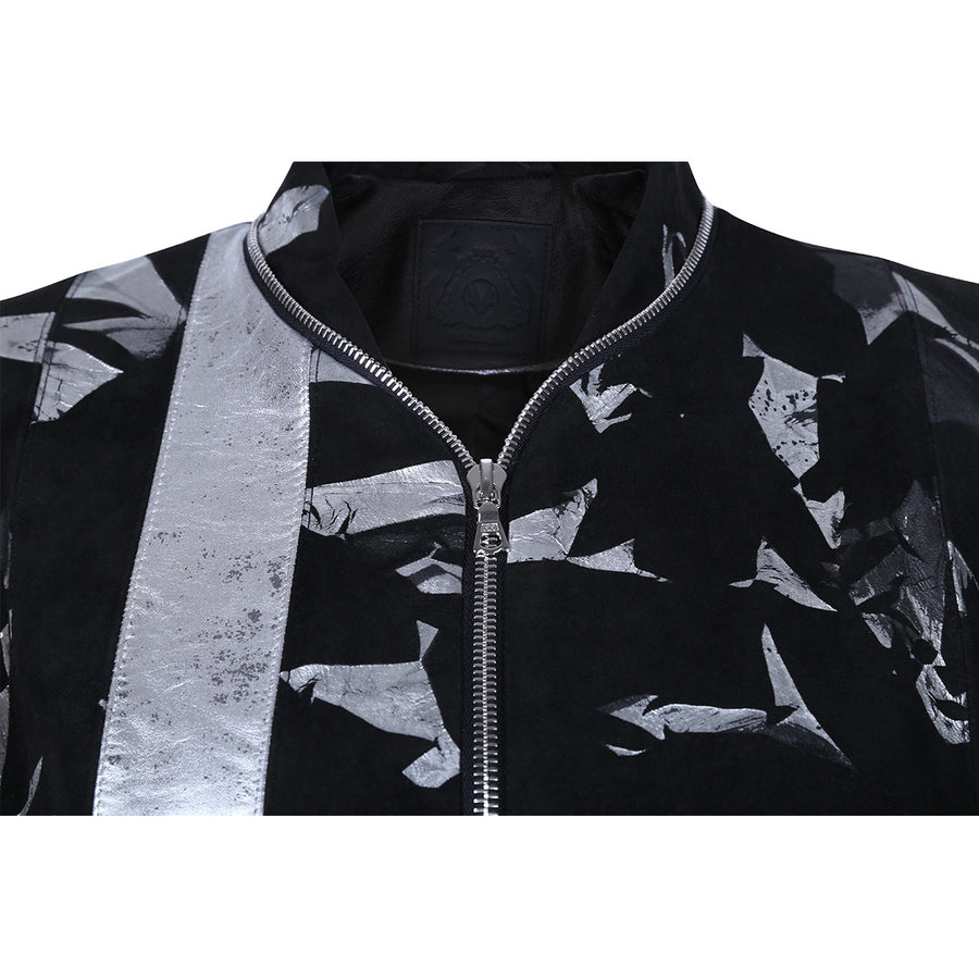 Suede black bomber jacket with metallic print motif