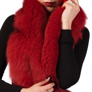 Red and Black Oversized Fox Fur Scarf