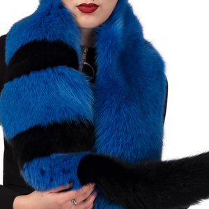 Royal Blue Black Oversized Fox Fur Scarf