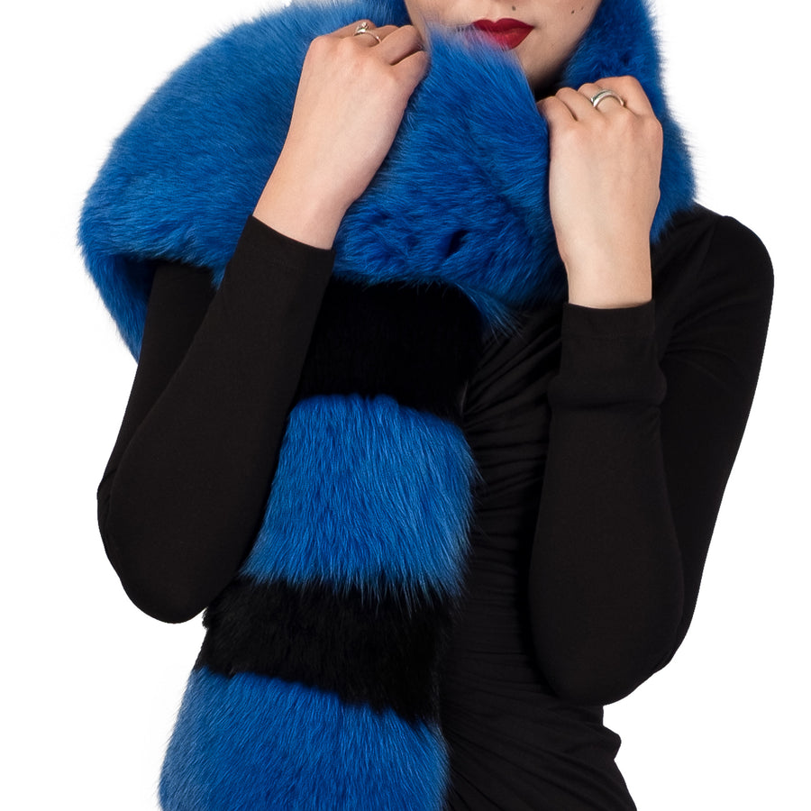 Black and Royal Blue Oversized Fox Fur Scarf