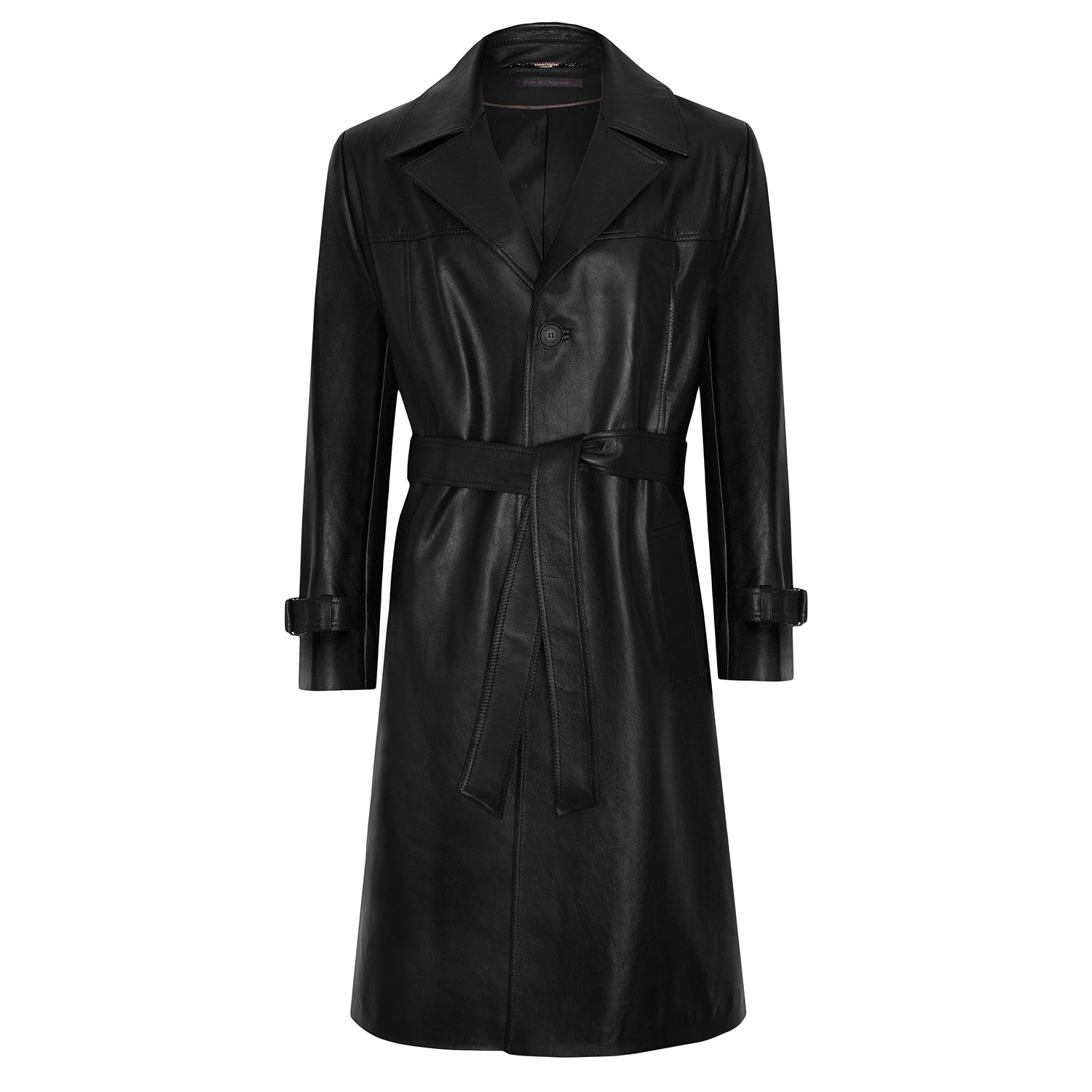 'V' Leather Trench Coat With Amen Break Print - VOLS & ORIGINAL