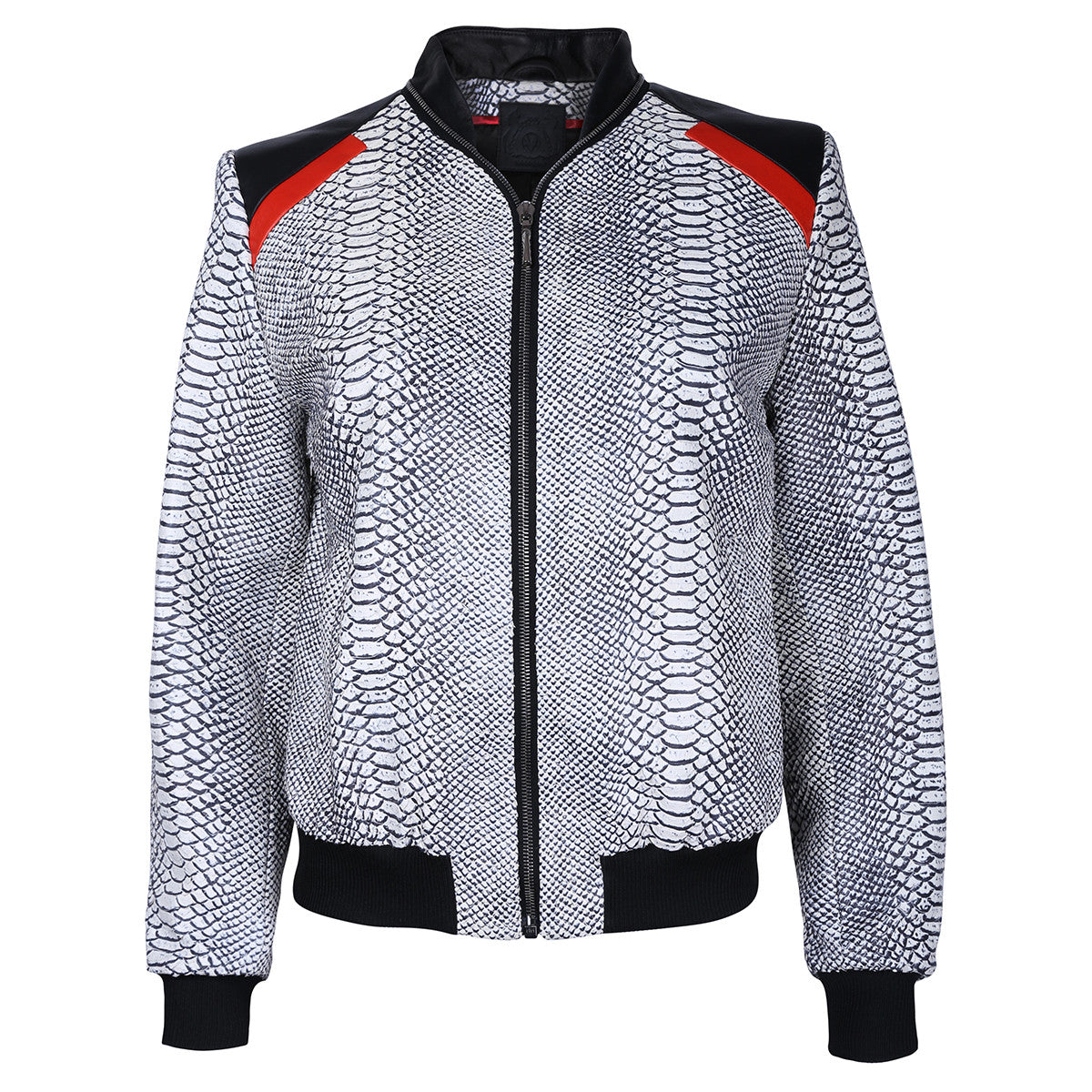 Monochrome Snake Leather Bomber Jacket with Red Motif - VOLS & ORIGINAL