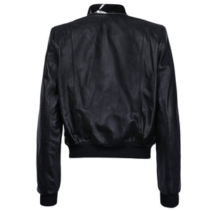 Black Suede Leather Bomber Jacket with Metallic Print Motif