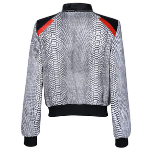 Monochrome Snake Leather Bomber Jacket with Red Motif