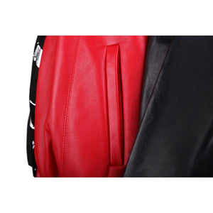Black and Red Leather Bomber Jacket with Silver Print Motif